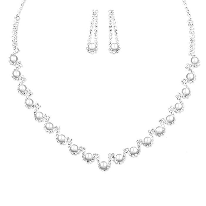 Bridal Wedding Prom Jewelry Set Crystal Rhinestone Pearl Elegant Necklace J735