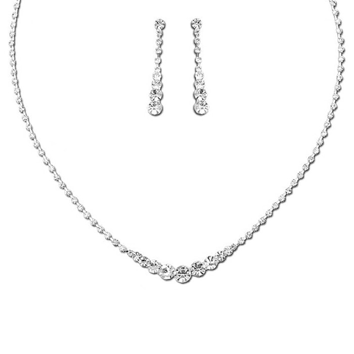 Bridal Wedding Prom Jewelry Set Crystal Rhinestone Elegant Necklace J737 Silver