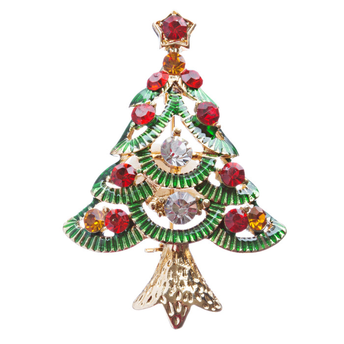 Christmas Jewelry Crystal Rhinestone Glamorous Holiday Tree Brooch Pin B141 MT