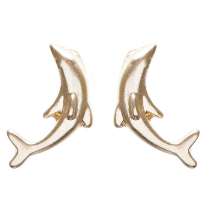 Appealing Design Dolphin Stud Screw Back Earrings E901 Gold