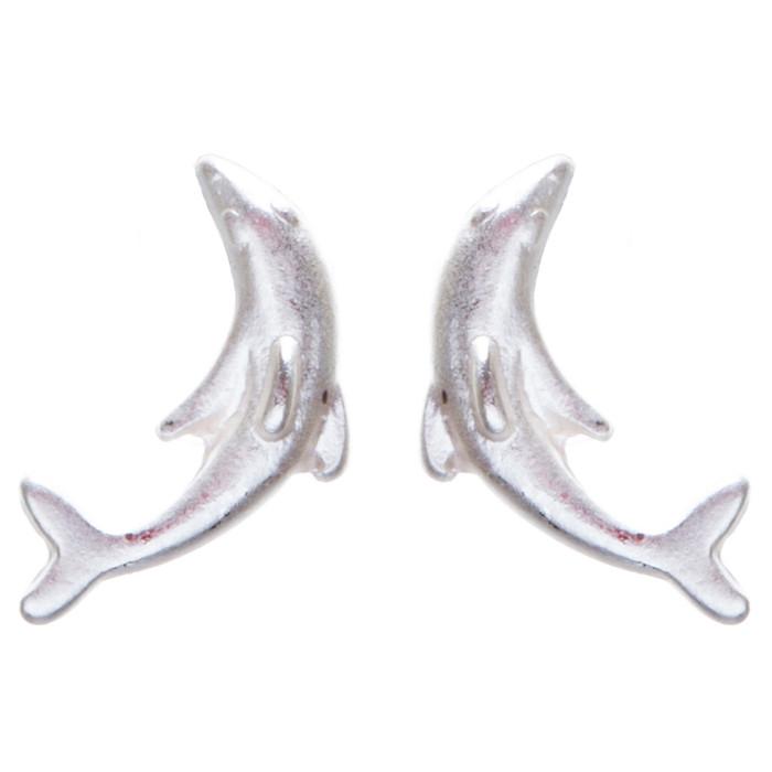 Appealing Design Dolphin Stud Screw Back Earrings E901 Silver