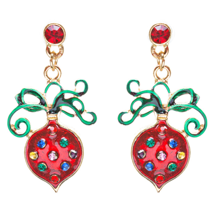 Christmas Jewelry Crystal Rhinestone Dainty Holiday Ornament Earrings E808 Red