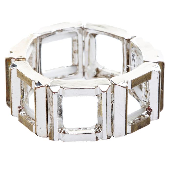 Fashion Statement Square Shaped Hollow Design Stretch Fashion Ring R214 Silver