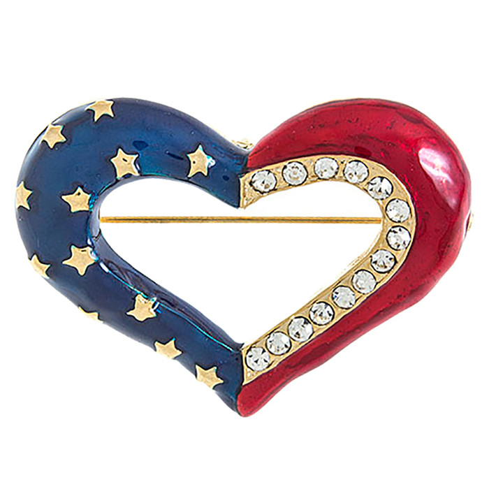Patriotic Jewelry Crystal Rhinestone Heart American Flag Brooch Pin BH200 Gold