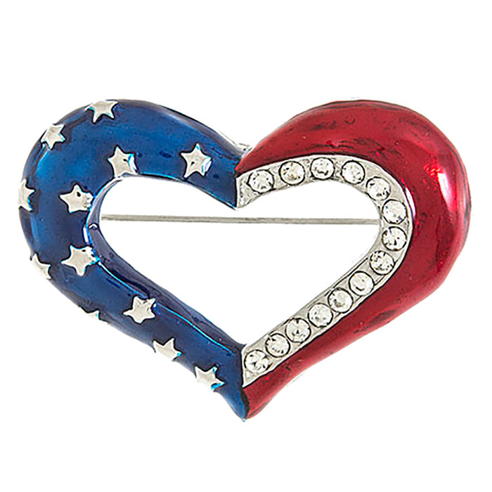 Patriotic Jewelry Crystal Rhinestone Heart American Flag Brooch Pin BH200 Silver