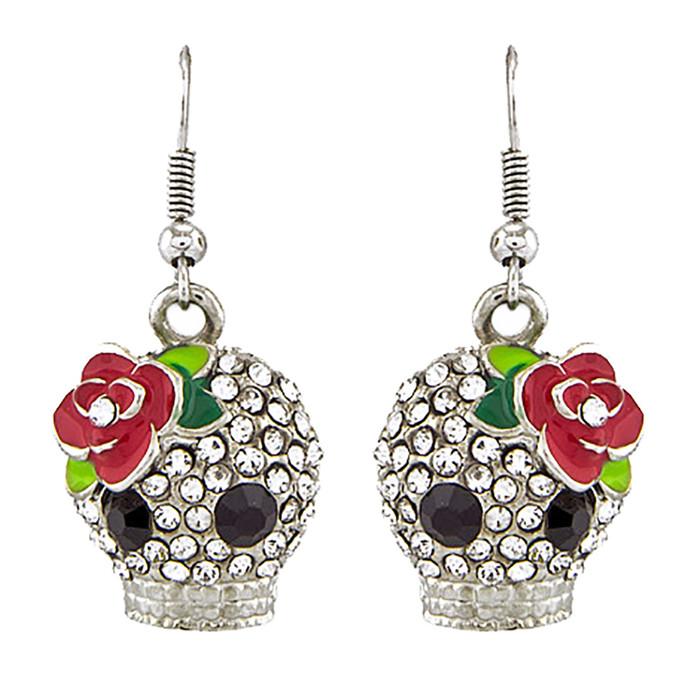 Halloween Costume Jewelry Crystal Rhinestone Rose Skull Earrings E1154 Silver