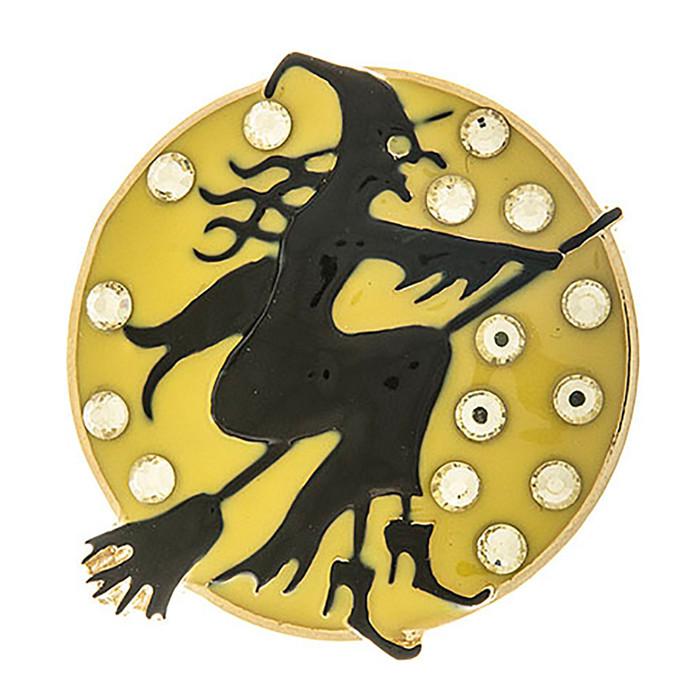 Halloween Costume Jewelry Crystal Rhinestone Witch Moon Brooch Pin BH207 Black