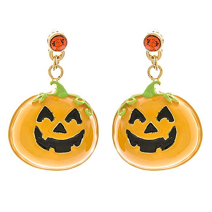 Halloween Costume Jewelry Crystal Rhinestone Pumpkin Face Earrings E1175 Orange