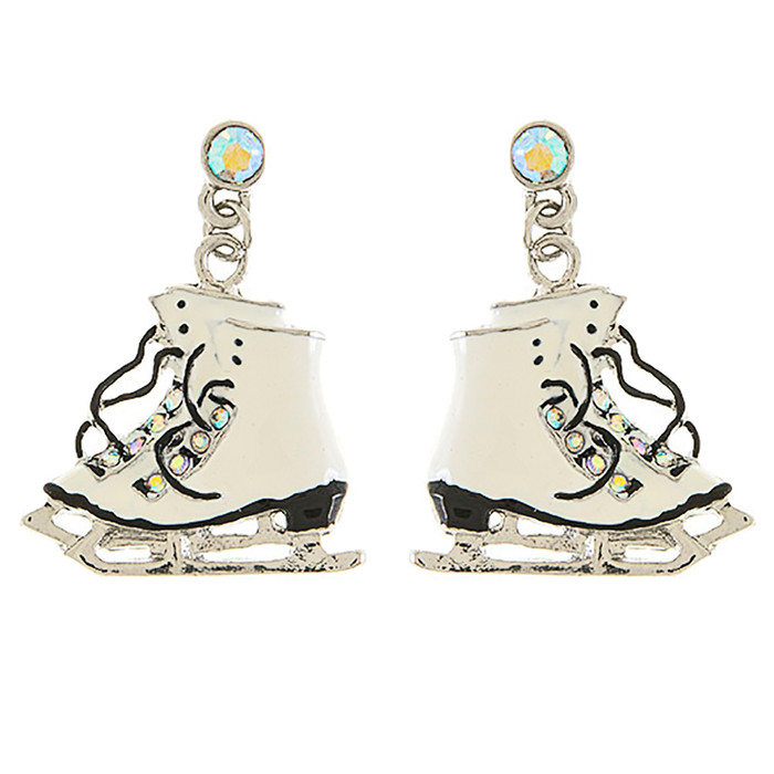 Christmas Jewelry Crystal Rhinestone Ice Skating Shoes Earrings E1177 White