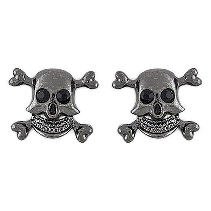 Halloween Costume Jewelry Crystal Rhinestone Skull Bone Earrings E1178 Black