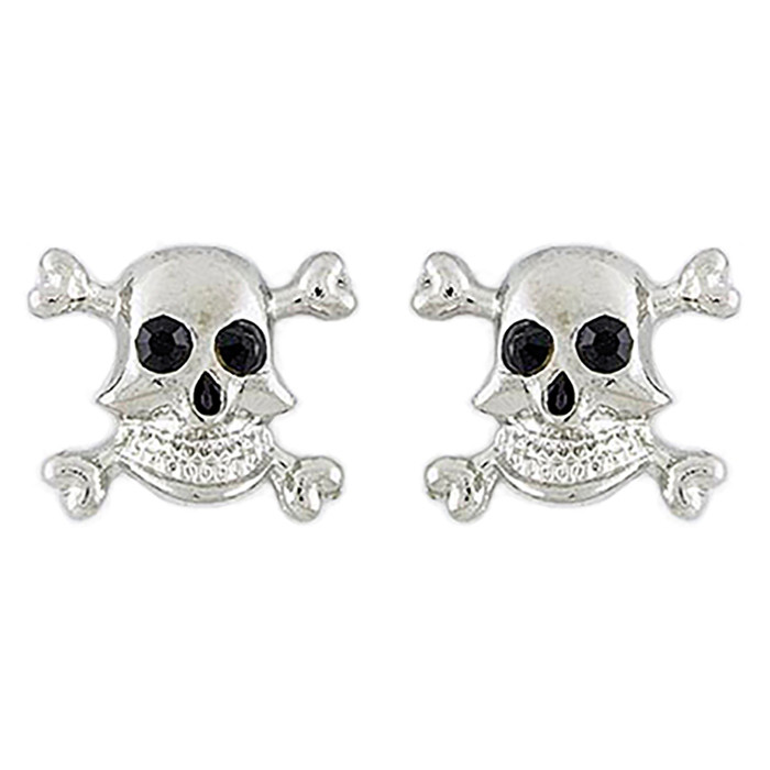 Halloween Costume Jewelry Crystal Rhinestone Skull Bone Earrings E1178 Silver