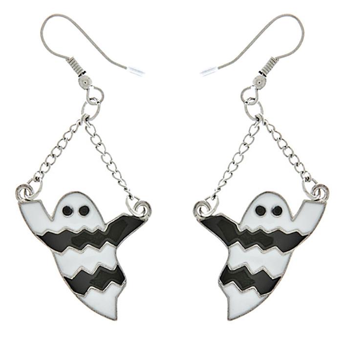 Halloween Costume Jewelry Ghost Charm Dangle Fashion Earrings E1179 White
