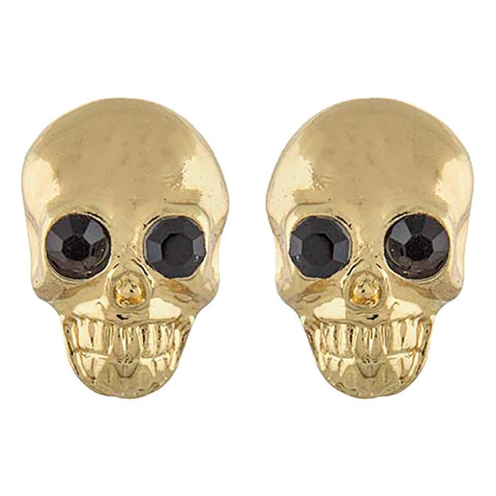 Halloween Costume Jewelry Crystal Rhinestone Skull Head Earrings E1180 Gold