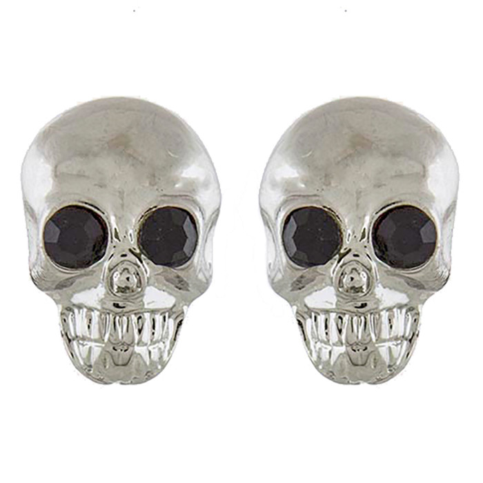 Halloween Costume Jewelry Crystal Rhinestone Skull Head Earrings E1180 Silver