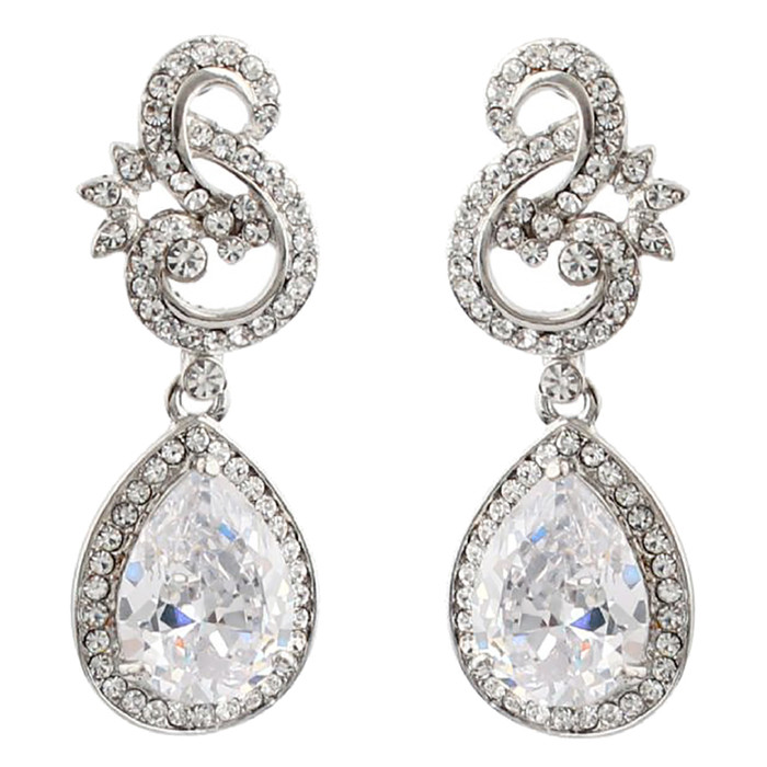 Bridal Wedding Jewelry Crystal Cubic Zirconia CZ Beautiful Dangle Earrings E1185