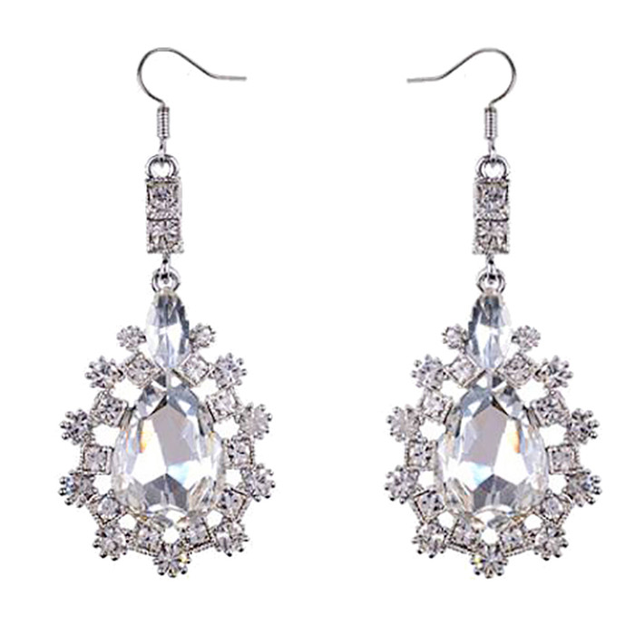 Bridal Wedding Jewelry Prom Crystal Rhinestone Simple Classic Earrings E1186 SV