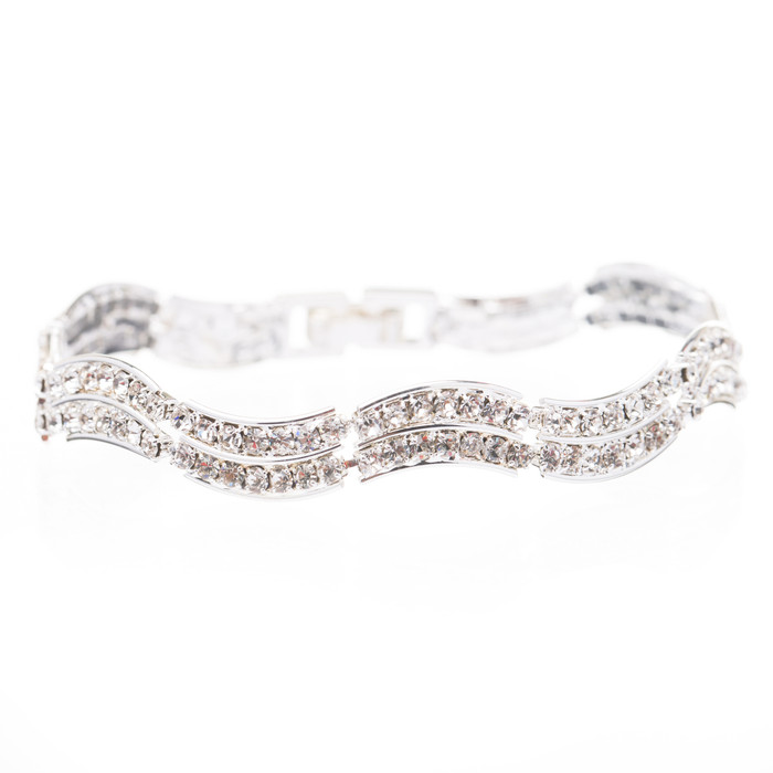 Bridal Wedding Jewelry Crystal Rhinestone Simple Classic Light Swirl Bracelet SV