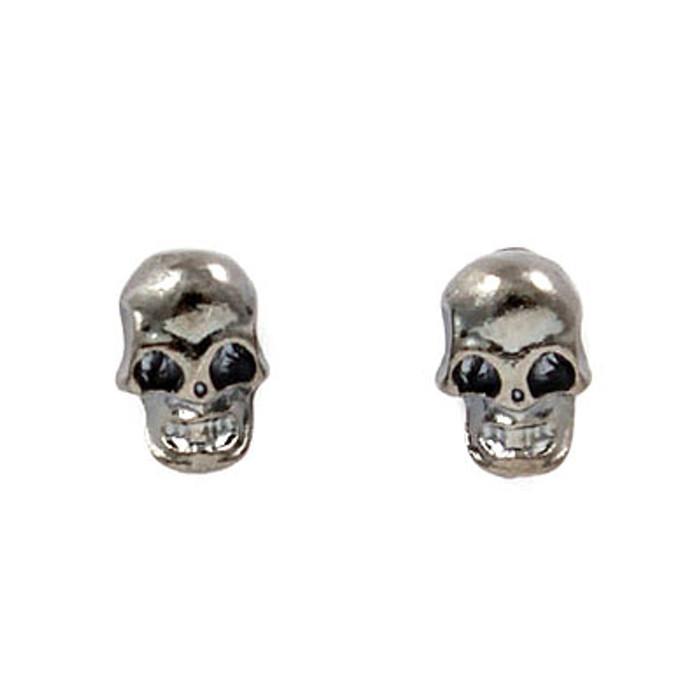 Halloween Costume Jewelry Fun Fashion Skull Mini Stud Earrings Hematite