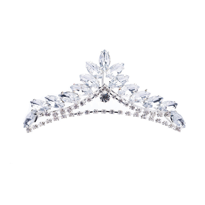 Bridal Wedding Jewelry Crystal Rhinestone Simple Chic Teardrop Hair Tiara Silver