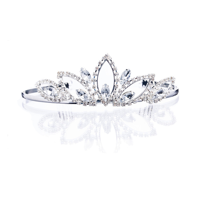 Bridal Wedding Jewelry Crystal Rhinestone Wide Sparkle Classic Hair Tiara Silver