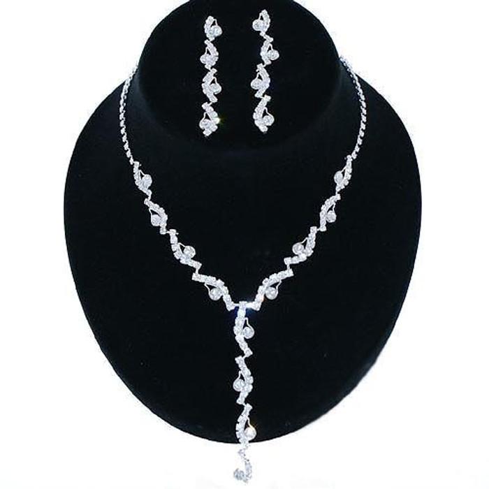 Bridal Wedding Jewelry Set Rhinestone Swirl Y Drop JS00182