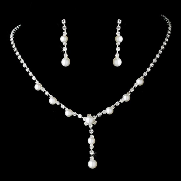 Bridal Wedding Jewelry Set Rhinestone Pearl Line Y Drop