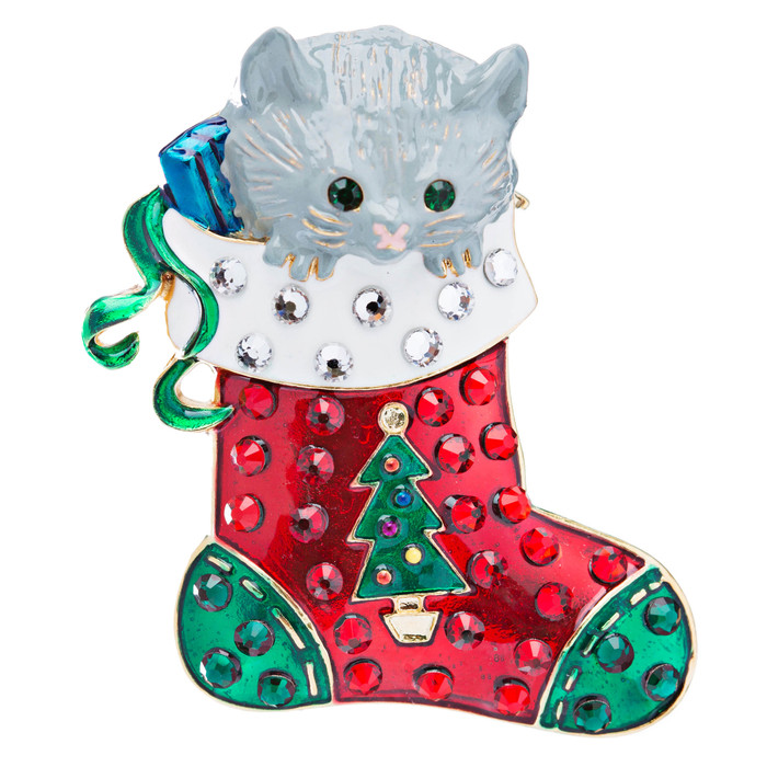 Christmas Jewelry Crystal Rhinestone Cute Gray Cat Sock Charm Brooch Pin Gold