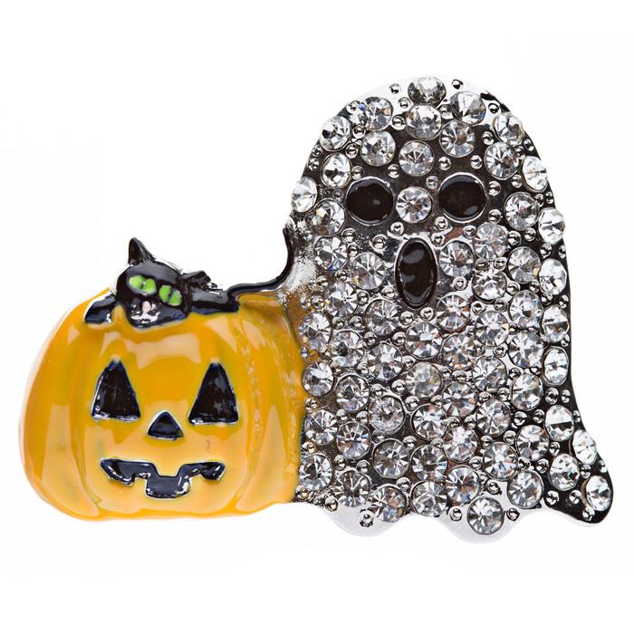 Halloween Costume Jewelry Crystal Rhinestone Dazzle Ghost Pumpkin Brooch Pin