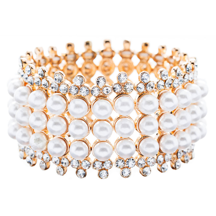 Bridal Wedding Jewelry Stunning 3 Rows Pearl Crystal Stretch Fashion Bracelet Go