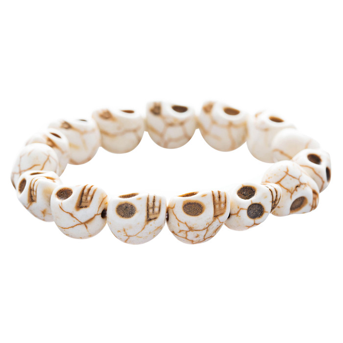Halloween Costume Jewelry Skull Charms Design Stretch Bracelet Creme Nature
