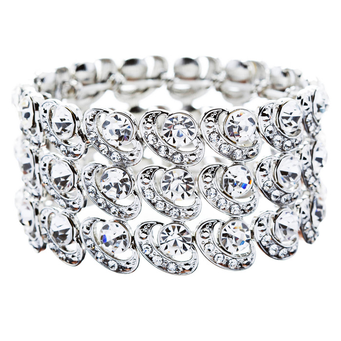 Bridal Wedding Jewelry Crystal Rhinestone Cycle Shape Cut Wide Bracelet Silver