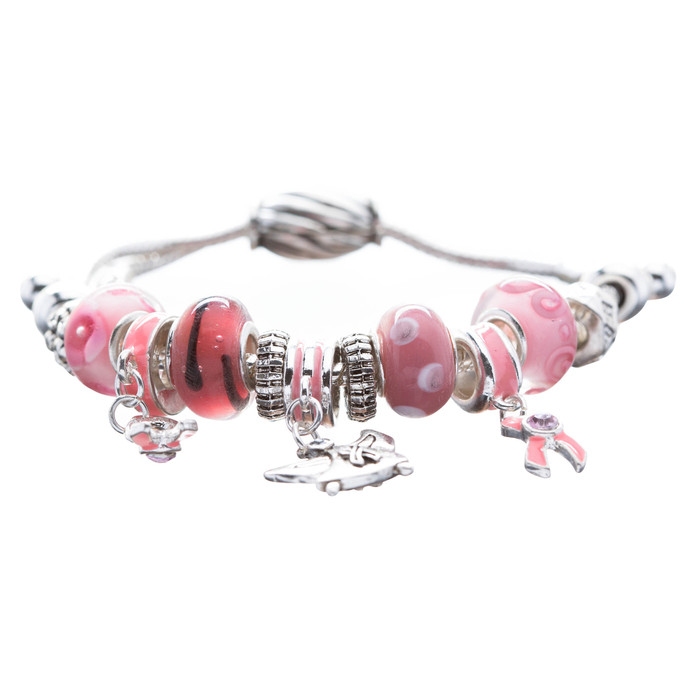 Pink Ribbon Breast Cancer Awareness Jewelry Bead Angel Charms Cord Bracelet
