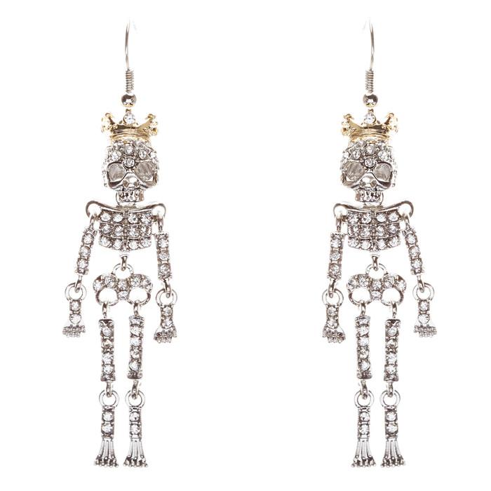 Halloween Costume Jewelry Skeleton Crown Crystal Dangle Earrings Silver Clear