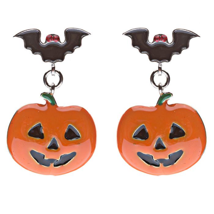 Halloween Costume Jewelry Bat Pumpkin Face Dangle Fashion Earrings Black Orange