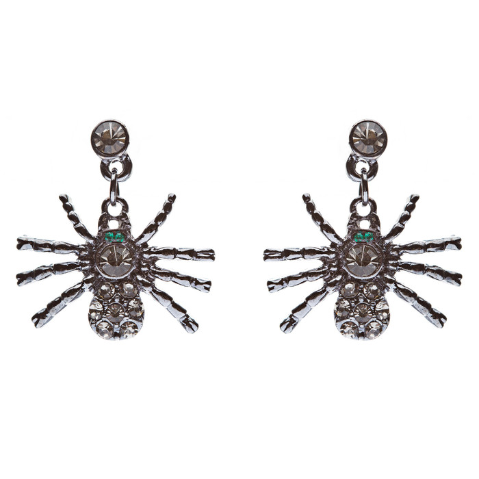 Halloween Costume Jewelry Spider Crystal Dangle Charm Earrings Hematite Black