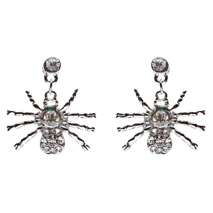 Halloween Costume Jewelry Spider Crystal Dangle Charm Earrings Silver Clear