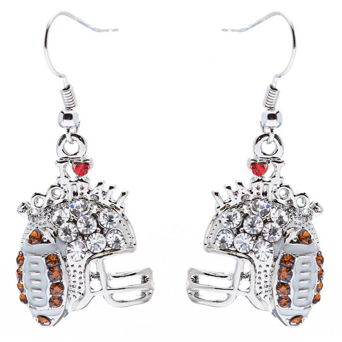 Sport Jewelry I Love Football Crystal Rhinestone Drop Dangle Earrings Silver