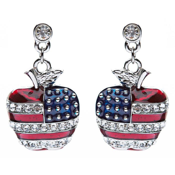 Patriotic American Flag Sparkling Crystal Rhinestone 3D Apple Earrings Silver