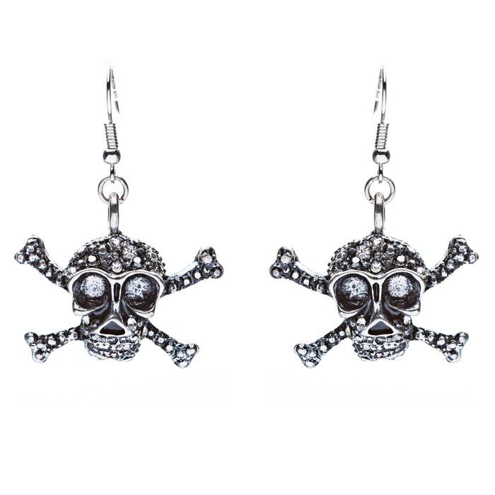 Halloween Costume Jewelry Rhinestone Skull Dangle Fashion Earring Antique Silver