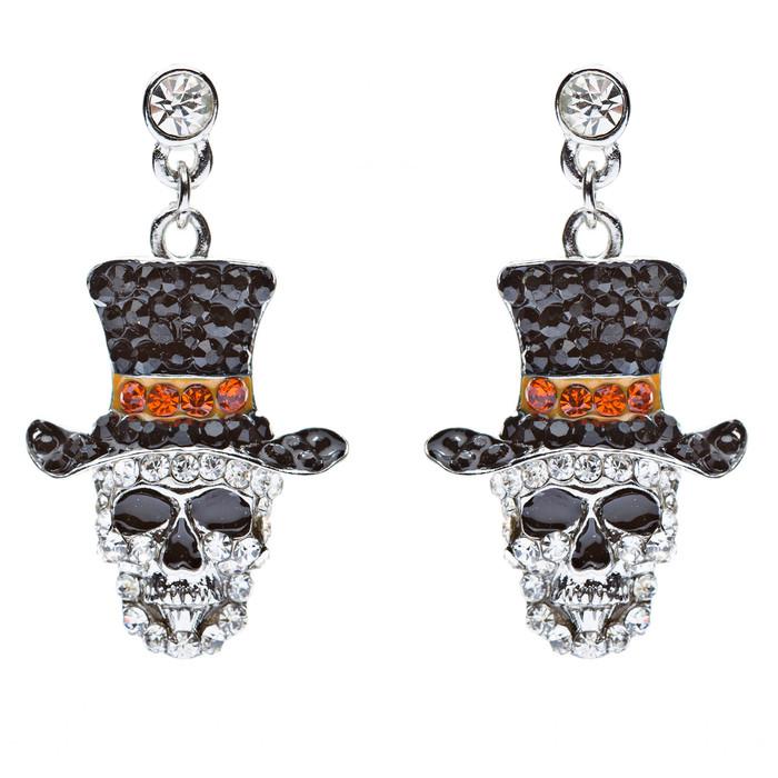 Halloween Costume Jewelry Dazzle Crystal Rhinestone Skull Hat Dangle Earrings