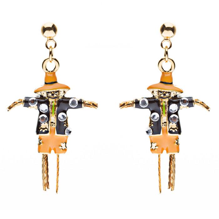 Halloween Costume Jewelry Dazzle Crystal Scarecrow Dangle Earrings Orange Gold