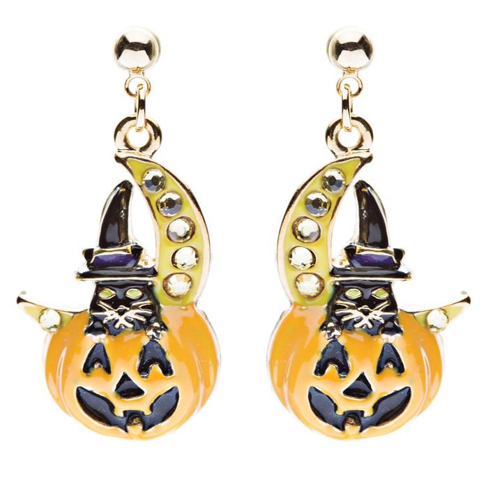 Halloween Costume Jewelry Crystal Black Cat Moon Happy Pumpkin Dangle Earrings