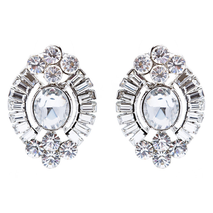Bridal Wedding Jewelry Crystal Stone Simple Modern Oval Fashion Stud Earrings SV