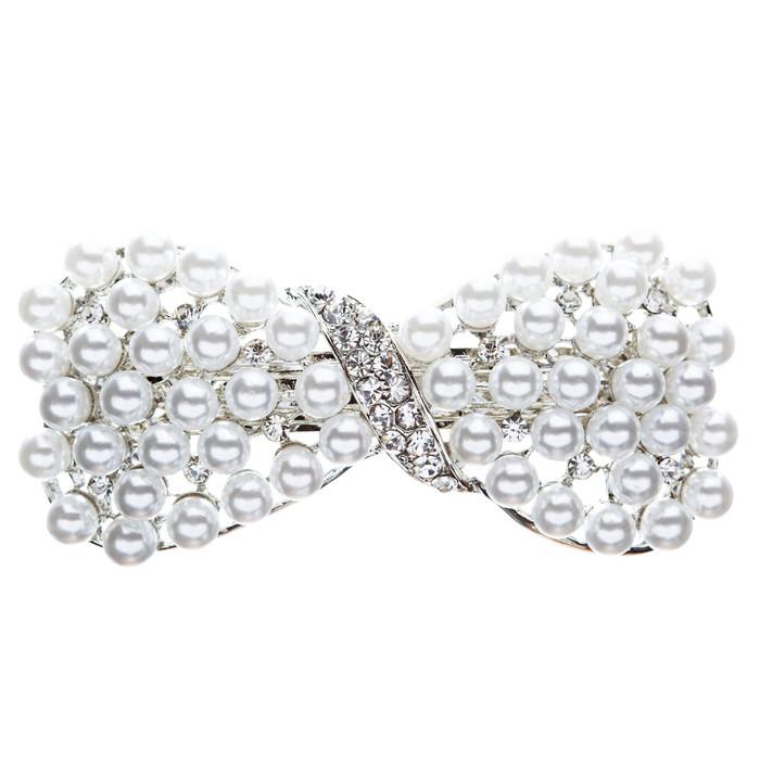 Bridal Wedding Jewelry Crystal Pearl Stunning Ribbon Bow Hair Barrette Silver