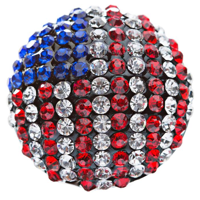 Patriotic Jewelry American Flag Crystal Rhinestone Round Stretch Ring Hematite