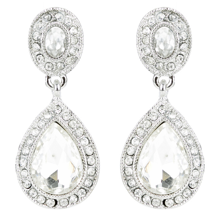 Bridal Wedding Jewelry Prom Crystal Rhinestone Teardrop Dangle Earrings E1197 SV