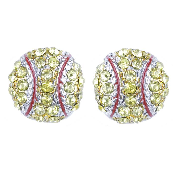 Sport Softball Crystal Rhinestone Stud Post Fashion Earrings Small E1199 Yellow