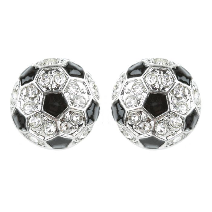 Sport Soccer Crystal Rhinestone Stud Post Fashion Earrings Small E1200 Silver