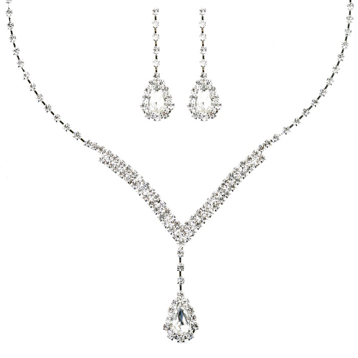 Bridal Wedding Jewelry Set  Necklace Earring Crystal Rhinestone V Drop J738 SV