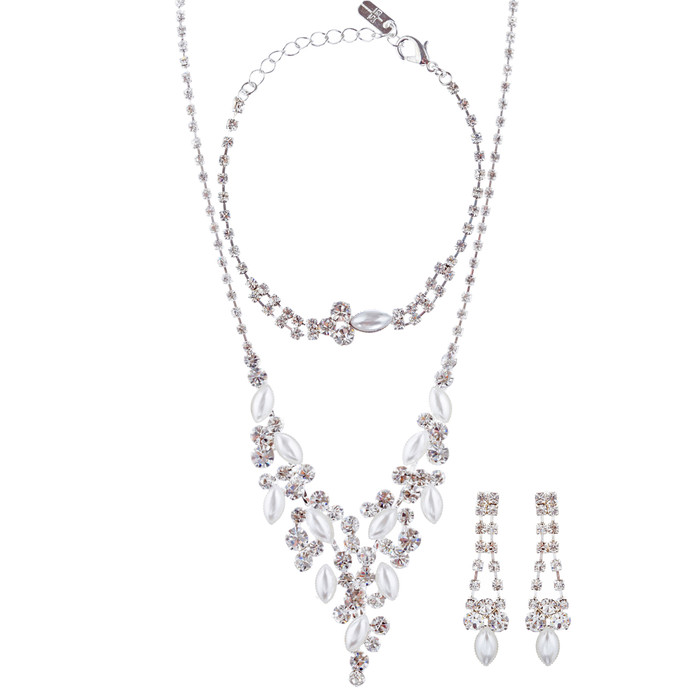 Bridal Wedding Jewelry Crystal Rhinestone Elegant Necklace Set J426 Silver